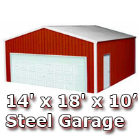 14' x 18' x 10' Steel Metal Enclosed Building Garage