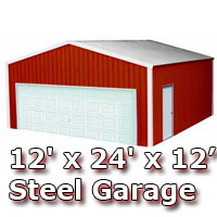 12' x 24' x 12' Steel Metal Enclosed Building Garage
