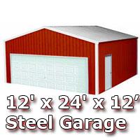 12' x 24' x 12' Steel Metal Enclosed Building Garage