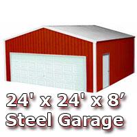 24' x 24' x 8' Steel Metal Enclosed Building Garage