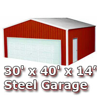 30' x 40' x 14' Steel Metal Enclosed Building Garage