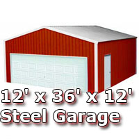 12' x 36' x 12' Steel Metal Enclosed Building Garage