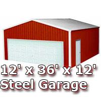 12' x 36' x 12' Steel Metal Enclosed Building Garage