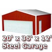 20' x 36' x 12' Steel Metal Enclosed Building Garage