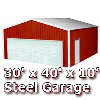 30' x 40' x 10' Steel Metal Enclosed Building Garage