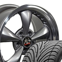 "17"" Mustang Bullitt Style Wheels & Tires Set - 17x9 Anthracite with Rivets Set- Fits All Mustangs 1994-2004"