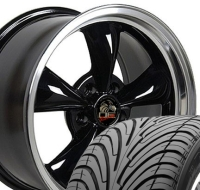 "18"" Staggered Mustang Bullitt Style Wheels & Tires Set - Black 18x9 / 18x10 Set - Fits All Mustangs 1994 - 2004"
