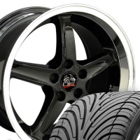 "17"" Staggered Cobra R Style Wheels & Tires Set - Black 17x9 / 17x10.5 Set - Fits All Mustangs 1994-2004"