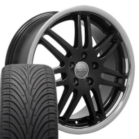 "18"" Audi Deep Dish RS4 Style Wheels & Tires Set - Black 18x8 Set- Fits A4 02-08"