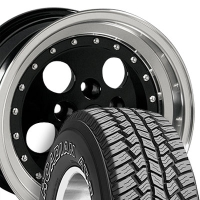 "15"" Black Jeep Wrangler Style Wheels & Tires Set - Black 15X8 Set - Fits Wrangler 1986 - 2006 / Cherokee 1986 - 2001 / Comanche 1992"