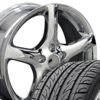 "17"" Altima Style Wheels & Tires Set - Chrome 17x7 Set - Fits Altima 02-Current and G35 03-08"