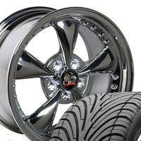 "17"" Mustang Bullitt Style Wheels & Tires Set -  17x9 Chrome with Rivets - Fits All Mustangs 1994 - 2004"