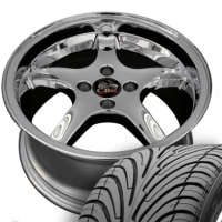 "17"" Staggered Cobra R Style Wheels & Tires Set - Chrome 17x8 / 17x9 Set - Fits All Mustangs 1979-1993"
