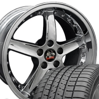 "18"" Chrome Cobra Style Wheels & Tires Set - Chrome 18x9 Set with Rivets- Fits Mustang V6 '05 - Current / GT '05 - Current"