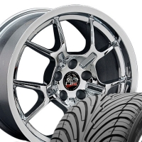 "18"" Staggered Chrome GT4 Style Wheels & Tires Set - Chrome 18x9/18X10 Set - Fits all Mustangs 94-04"