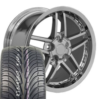 "18"" C6 Z06 Deep Dish Wheels & Tires Set - Chrome with Rivets 18x18.5 Set  - Fits Corvette, Camaro, Firebird, and Trans Am"