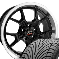 "18"" Staggered GT4 Style Wheels & Tires Set - Black 18x9 / 18x10 Set - Fits Mustang V6 '05 - Current / GT '05 - Current"
