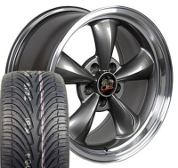 "18"" Staggered Bullitt Style Wheels & Tires Set - Anthracite 18x9 / 18x10 Set - Fits All Mustangs 1994 - 2004"
