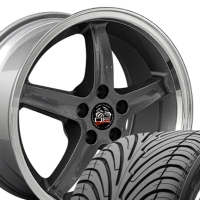 "18"" Mustang Cobra R 98 Style Wheels & Tires Set - 18x9 Gunmetal Set - Fits All Mustangs 1994 - 2004"