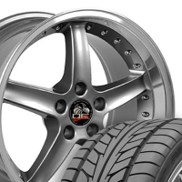 "18"" Cobra R Style Wheels & Tires Set - Gunmetal 18x9 Set with Rivets- Fits Mustang V6 '05 - Current / GT '05 - Current"