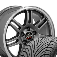 "17"" Cobra Style Wheels & Tires Set - Gunmetal 17x9 Set - Fits All Mustangs 1994-2004"