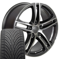 "17"" Audi R8 Style Wheels & Tires Set - Gunmetal 17x7.5 Set- Fits A4 02-08"