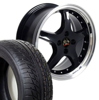 "17"" Staggered Mustang Cobra R Deep Dish Wheels & Tires Set - 17x8 / 17x9 Black with Rivets Set- Fits All Mustangs 1979 - 1993"