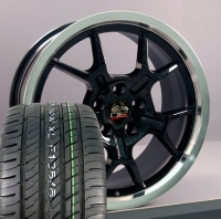 "18"" GT4 Style Wheels & Tires Set - Black 18x9 Set - Fits All Mustangs 1994 - 2004"