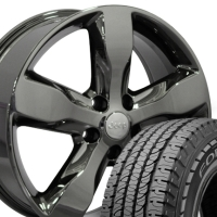 "20"" OEM Jeep Grand Cherokee Wheels & Tires Set - Black Chrome 20x8 Set - Fits Grand Cherokee 1999-2004 & 2011-2012"