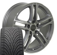 "17"" Audi R8 Style Wheels & Tires Set - Silver 17x7.5 Set- Fits A4 02-08"