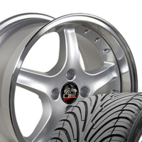 "17"" Staggered Silver Cobra R Style Wheels & Tires Set - Silver 17x9 / 17x10.5 Set with Rivets - Fits All Mustangs 1994-2004"