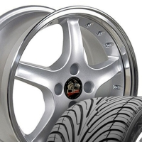 "17"" Silver Cobra R Style Wheels & Tires Set - Silver 17x8 Set - Fits All Mustangs 1979-1993"