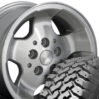 "15"" Jeep Wrangler Style Wheels & Tires Set - Silver 15x8 Set - Fits Wrangler 1986 - 2006 / Cherokee 1986 - 2001 / Comanche 1992"