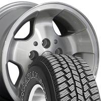 """15"""" Silver Jeep Wrangler Wheels & Tires Set - 15x8 Silver Set - Fits Wrangler 1986 - 2006 / Cherokee 1986 - 2001 / Comanche 1992"""