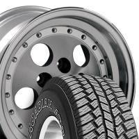 """15"""" Silver Jeep Wrangler Wheels & Tires Set - Silver 15X8 Set - Fits Wrangler 1986 - 2006 / Cherokee 1986 - 2001 / Comanche 1992"""