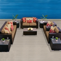 Elite Ocean View Taupe 10 Piece Outdoor Wicker Patio Furniture Set