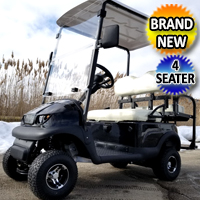 Small Electric Termite Golf Cart Mini Collapsible Four Seater Fully Loaded - BLACK