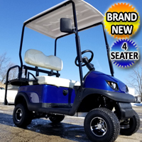 Small Electric Termite Golf Cart Mini Collapsible Four Seater Fully Loaded - BLUE
