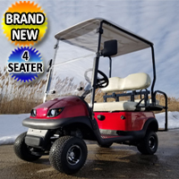 Small Electric Termite Golf Cart Mini Collapsible Four Seater Fully Loaded - RED