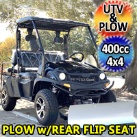 400cc GVX Gas Golf Cart UTV 4x4 With Rear Flip Seat & Plow Street Legal Light Package All Wheel Drive