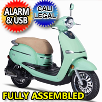 50cc 4 Stroke 3hp Gas Moped Scooter With Alarm & USB Adapter - F10-50cc