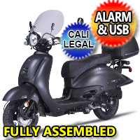 Znen 150cc 4 Stroke 8.5hp Gas Moped Scooter With USB Adapter & Alarm - T-G-BLACKOUT