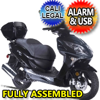 Znen 150cc 4 Stroke 8.5hp Gas Moped Scooter With USB Adapter & Alarm - ZN150-7H