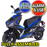 Znen 150cc 4 Stroke Gas Moped Scooter With Alarm & USB Adapter - ZN150-F11