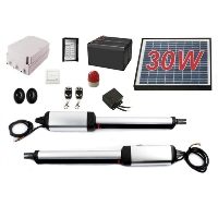 Solar Full Kit Swing Gate Opener for Dual Swing Gates Up to 20-Feet Long and 1300-Pounds