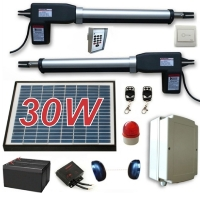 Solar Full Kit Swing Gate Opener for Dual Swing Gates Up to 16-Feet Long and 1200-Pounds