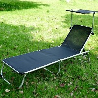 Folding Adjustable Reclining Beach Sun Lounge Chair With Shade