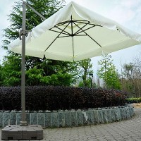 10' Offset Tilt Patio Umbrella Sun Shade With Base - Cream