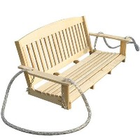 6' Pine Wood Outdoor Hanging Porch Swing w/ Fold Down Table