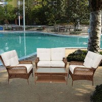Brand New Deluxe Outdoor PE Rattan Garden Wicker 4-Piece Patio Furniture Set